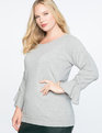 Ruched Tie Sleeve Sweater Light Heather Grey