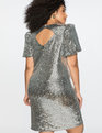 Puff Sleeve Sequin Dress Silver