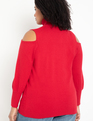 Cold Shoulder Turtleneck Sweater Jester Red