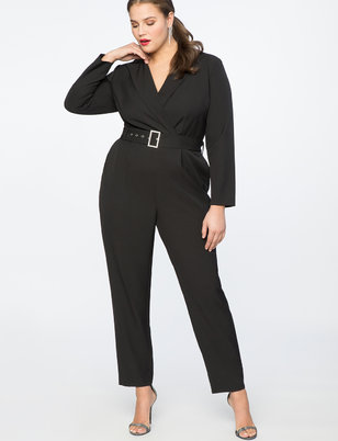 Jumpsuit with Lapel and Rhinestone Belt