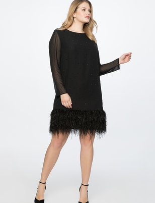 Shift Dress with Feather Hem