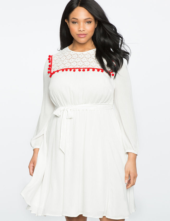 Fit And Flare Dress With Lace And Pom Detail Womens Plus Size