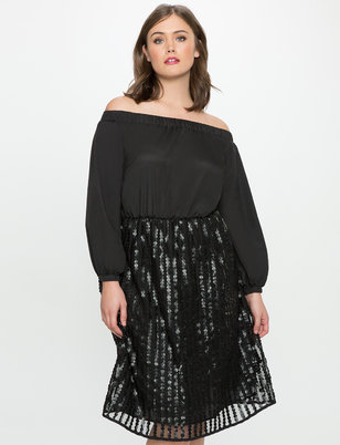 Off the Shoulder Gathered Fit and Flare Dress