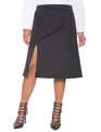 Slit A-Line Skirt Black