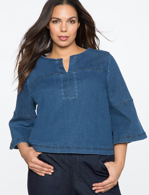 Flare Sleeve Denim Top