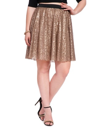 Studio Matte Sequin Full Skirt | Women's Plus Size Skirts | ELOQUII