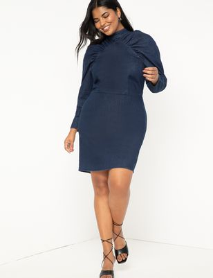 Gathered Sleeve Denim Dress