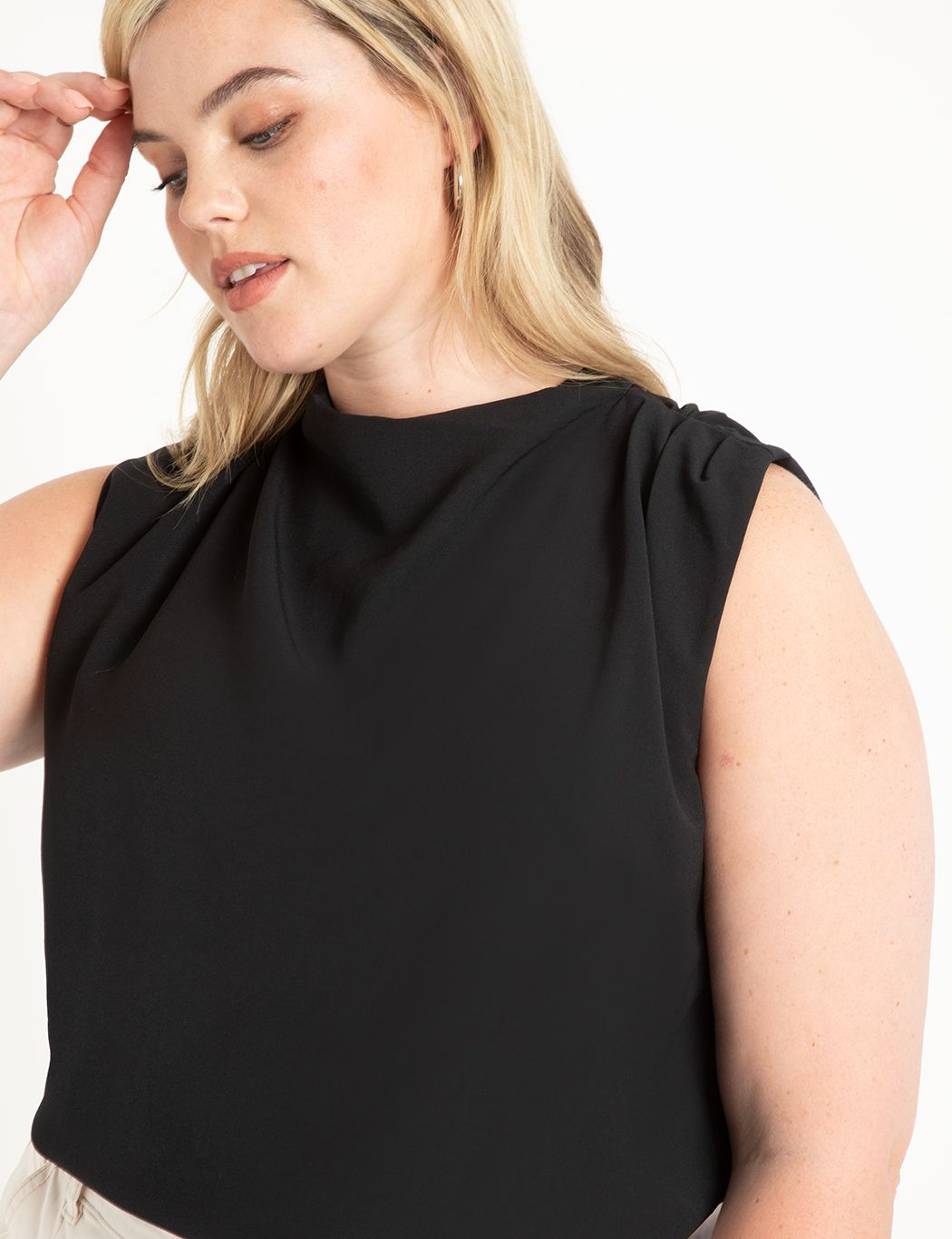 Draped Front Sleevless Top