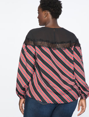 Sheer Yoke Stripe Top