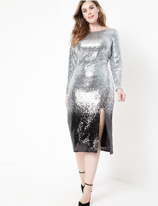 Ombre Sequin Dress with Slit