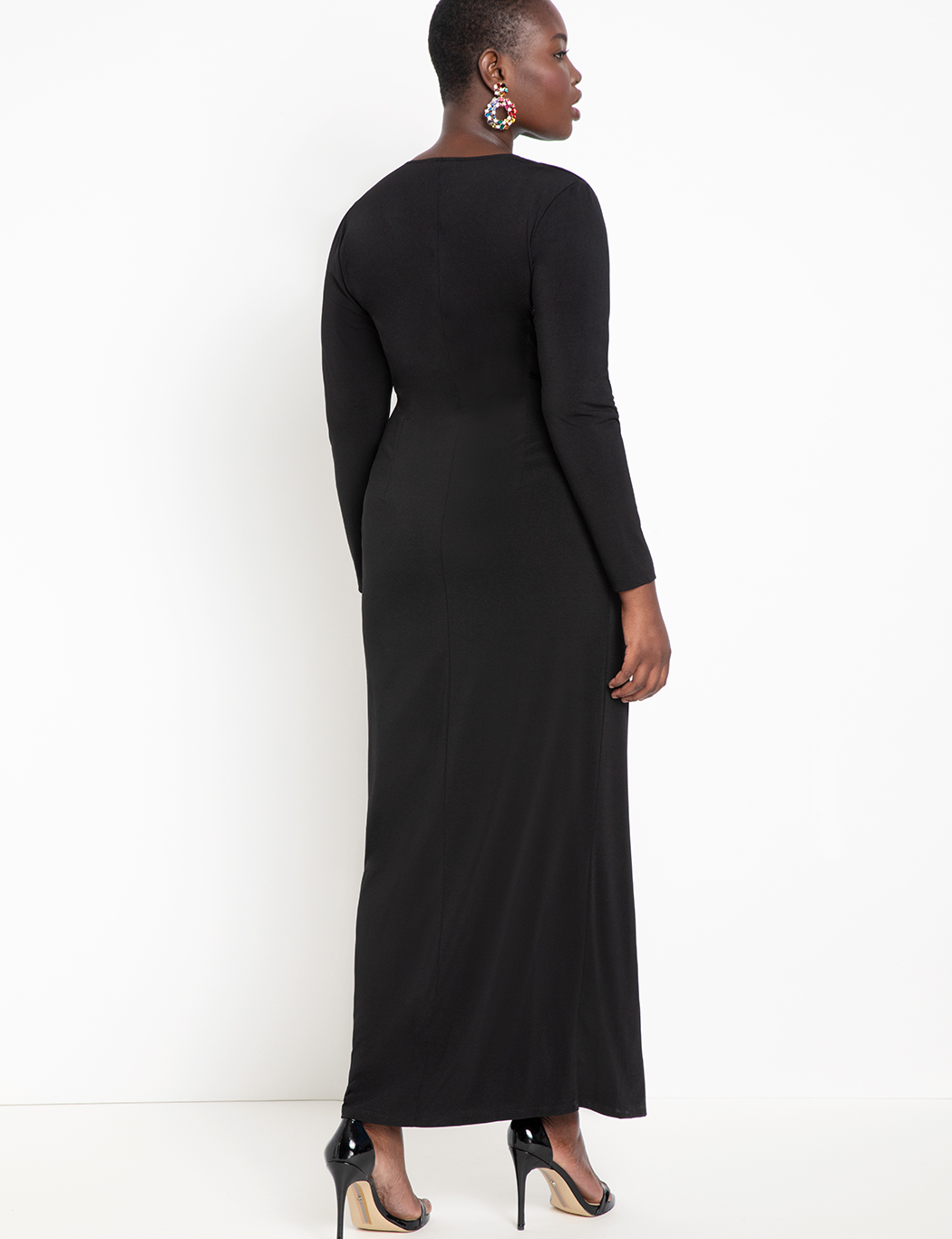 Twist Front Long Sleeve Gown