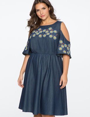 Cold Shoulder Embroidered Chambray Dress