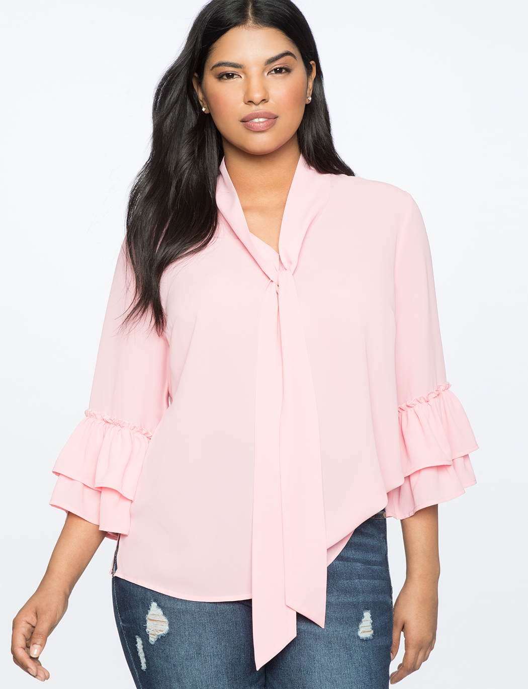 Ruffle Flounce Sleeve Top with Tie Neck