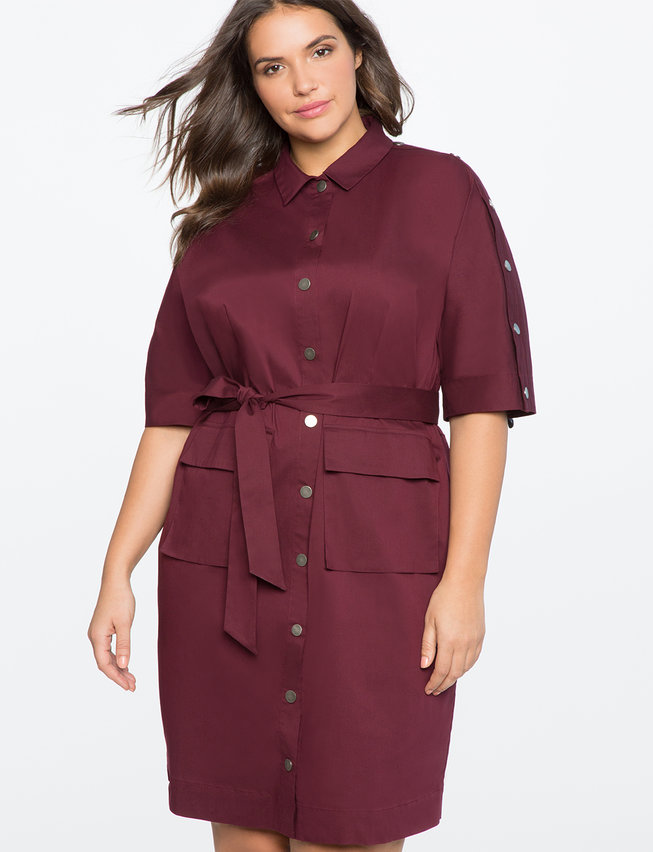 Button Detail Shirt Dress