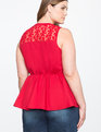 Lace Detail Tie Neck Peplum Top Jester Red