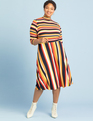 ELOQUII Elements Printed Fit and Flare Dress Multi Stripe
