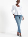 Dramatic Puff Sleeve Peplum Top Soft White