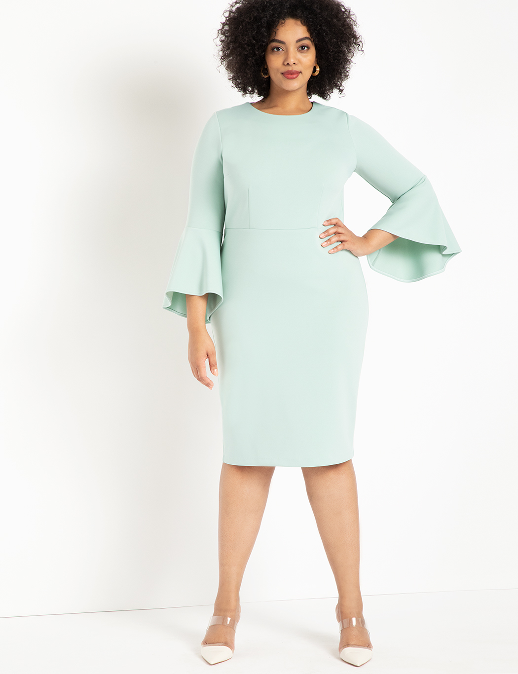 Flare Sleeve Scuba Dress