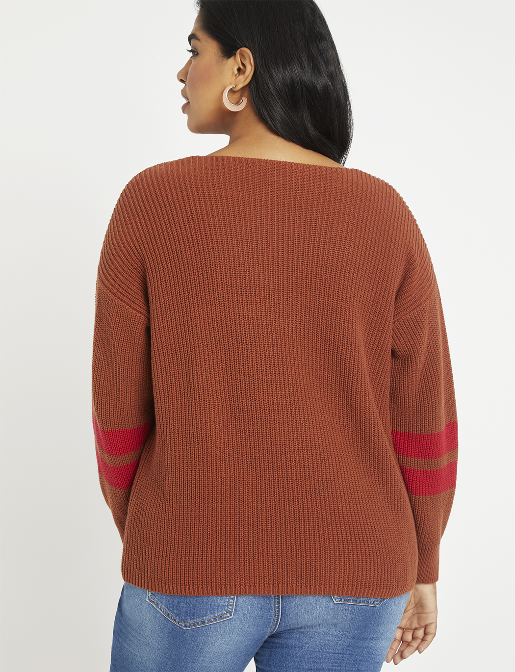 V-Neck Sweater with Stripe