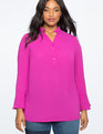 Flare Sleeve Pullover Tunic Blouse MAGENTA