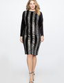 Vertical Stripe Column Dress Totally Black and Silver