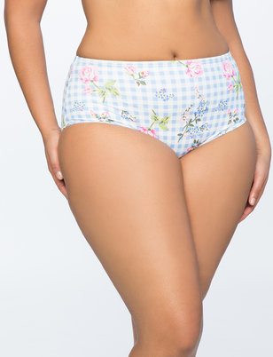 Gingham High Waisted Bikini Bottom