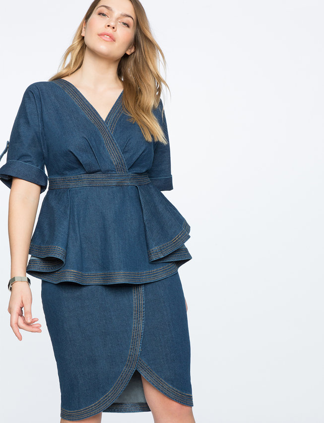 Denim Dress With Peplum Detail Womens Plus Size Dresses Eloquii