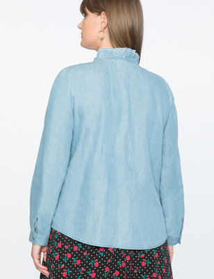 Draper James for ELOQUII Ruffle Placket Chambray Shirt
