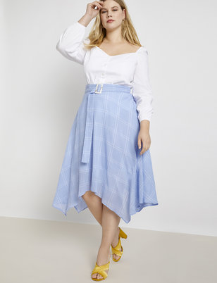 Belted Windowpane Handkerchief Hem Skirt