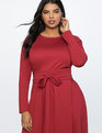 Long Sleeve Fit and Flare Dress Cabernet