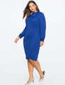 Drape Front Mock Neck Dress GREEK BLUE