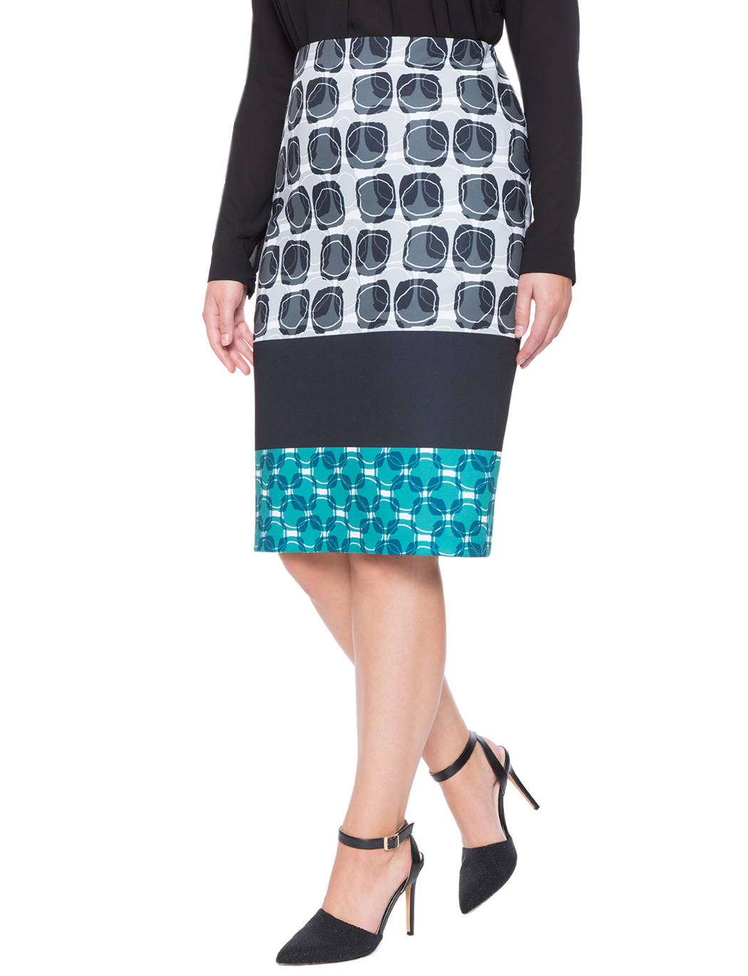 a43856f069755d Printed Colorblock Pencil Skirt | Women's Plus Size Skirts | ELOQUII