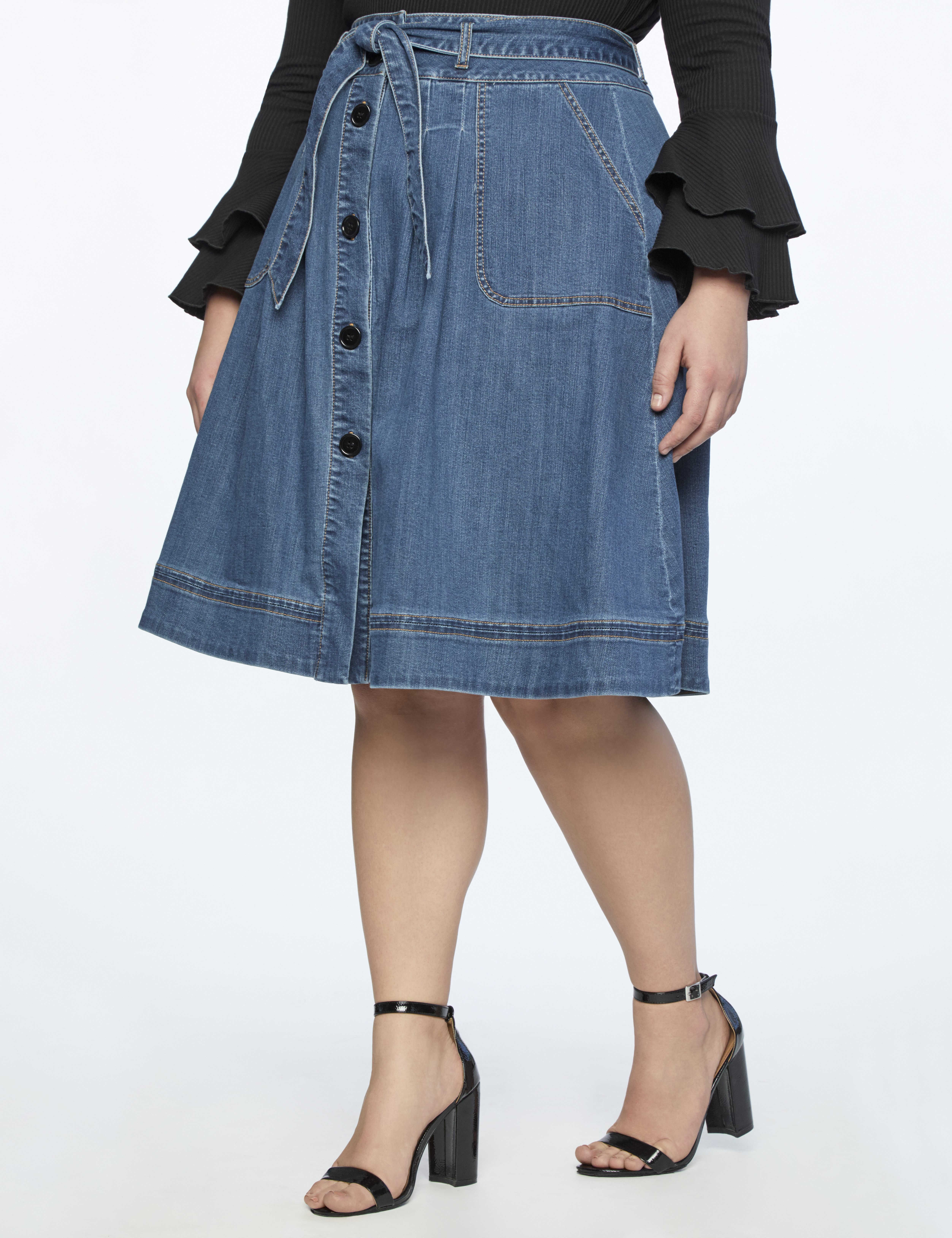 Denim Midi Skirt with Tie