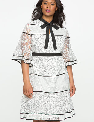 Studio Lace Blocked Dress with Piping