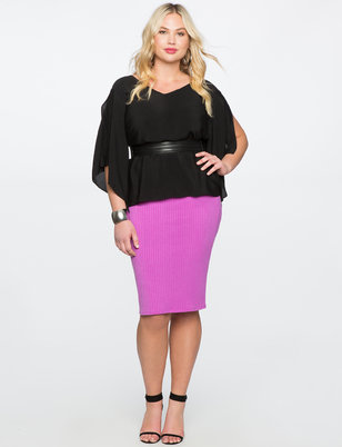 Rib Knit Pencil Skirt
