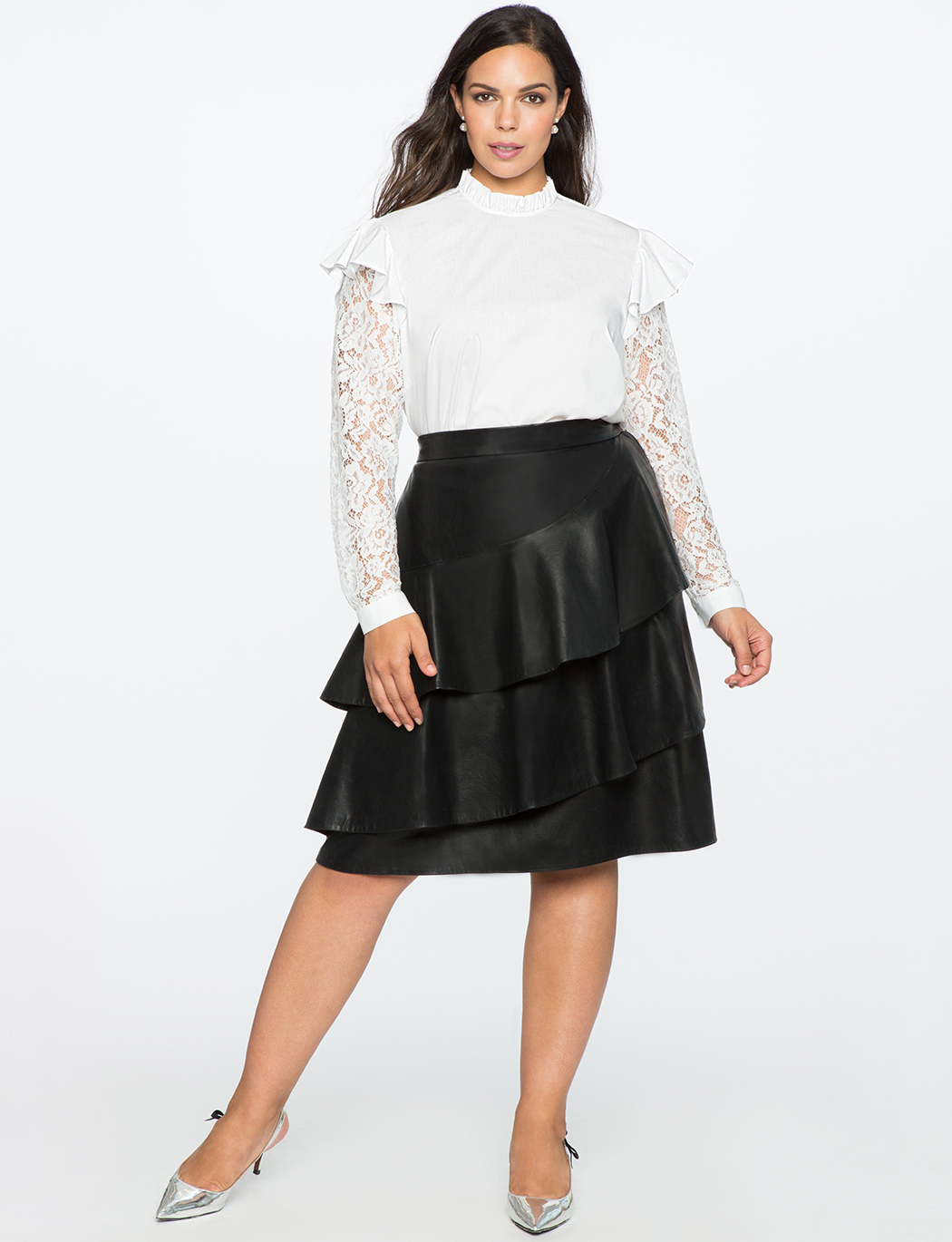 Ruffle Blouse with Lace Sleeves