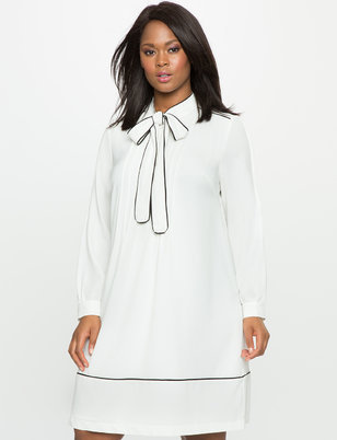 Soft Shirt Dress with Piping