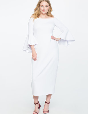 Off the Shoulder Flare Sleeve Gown