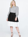 Ponte Circle Skirt Black/White Color Block