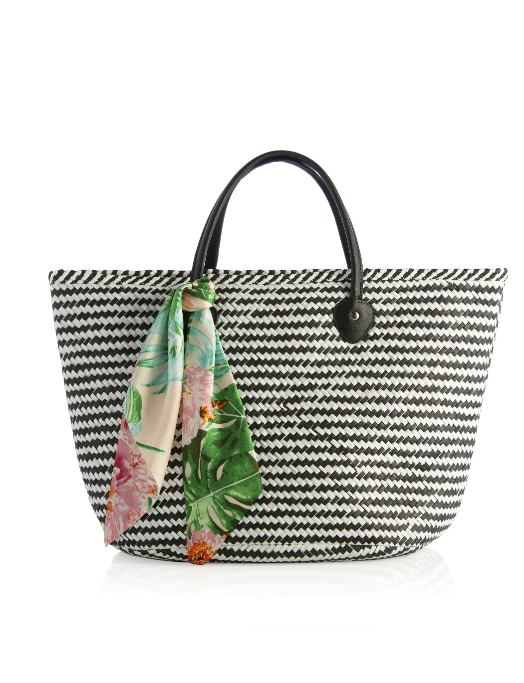 Stripe Tote Bag with Removable Scarf
