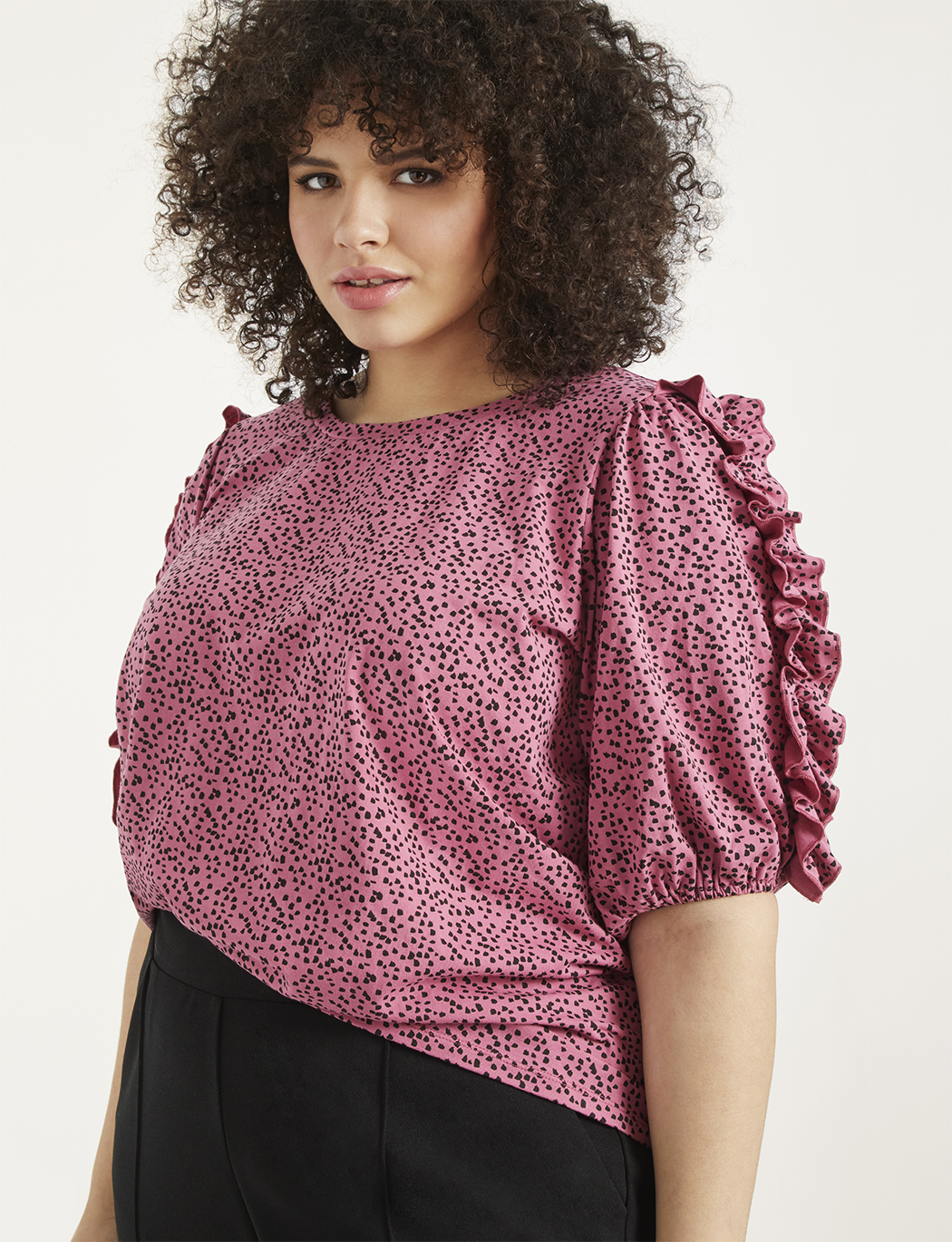 Puff Sleeve Top with Ruffle