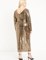 Sequin Maxi Dress with Wrap Skirt Gold