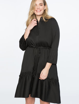 Pleated Sleeve Dress with Flounce Hem