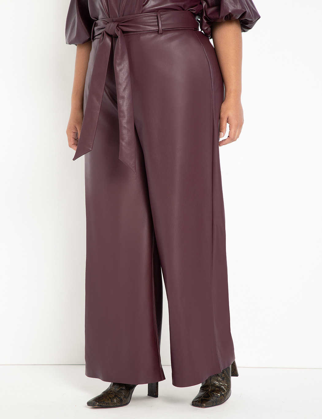 Tie Waist Wide Leg Faux Leather Pant