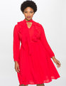Tie Neck Soft Ruffle Dress Scarlet Sage
