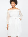 Studio Off the Shoulder Dress with Lace Trim WHITE