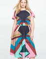 Printed Flutter Sleeve Dress COLOSSAL GEO