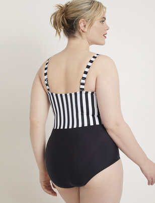 Opposing Stripes One Piece Swimsuit