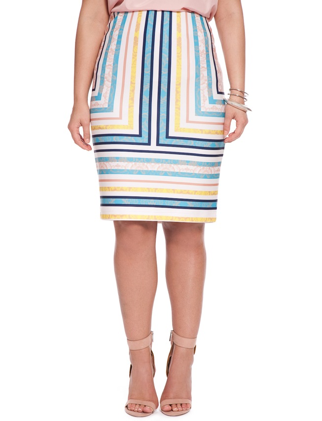 Placed Lace Stripe Pencil Skirt