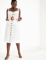 Button Front Belted Dress Soft White